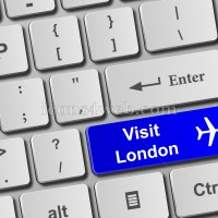 Visit London keyboard button. Buy online tickets concept to visit London - Icons for your website