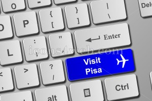 Visit Pisa blue keyboard button. Buy online tickets concept to visit Pisa. - Icons for your website
