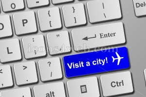 Visit a city keyboard button. Buy online tickets concept to visit a city. - icons4web