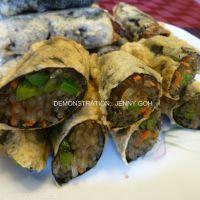 Korean Deep Fried Seaweed Rolls stuffed with JapChae Noodle (KimMaRi)