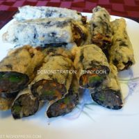 Korean Deep Fried Seaweed Rolls stuffed with JapChae Noodle (KimMaRi)