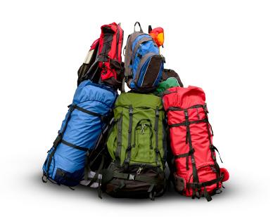 Pile of backpacks