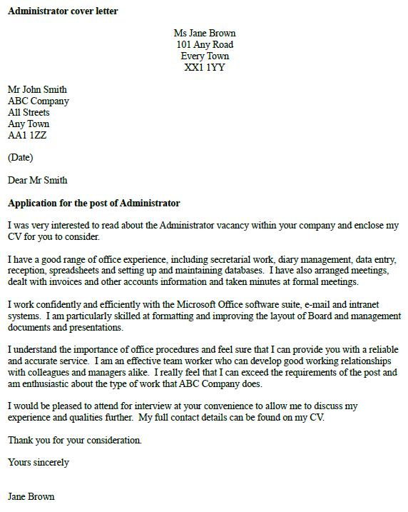 Administrator Cover Letter Example - Icover.Org.Uk
