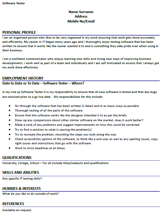 software tester cv example