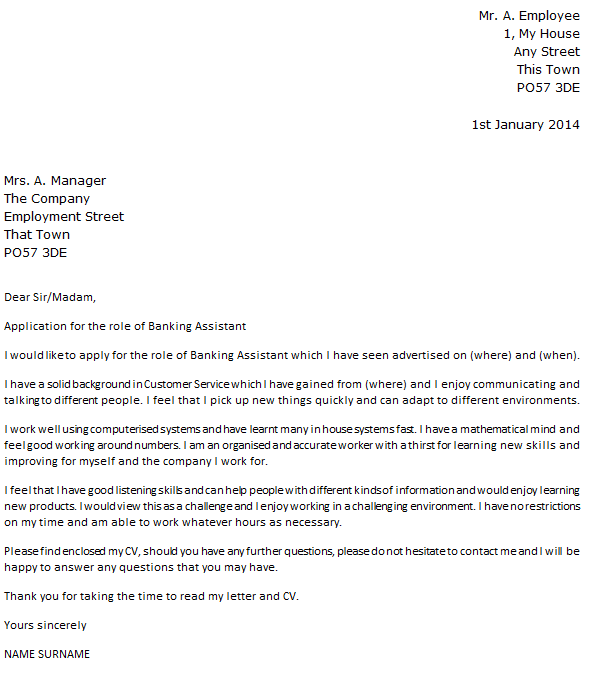 Banking Assistant Cover Letter Example Icover Org Uk