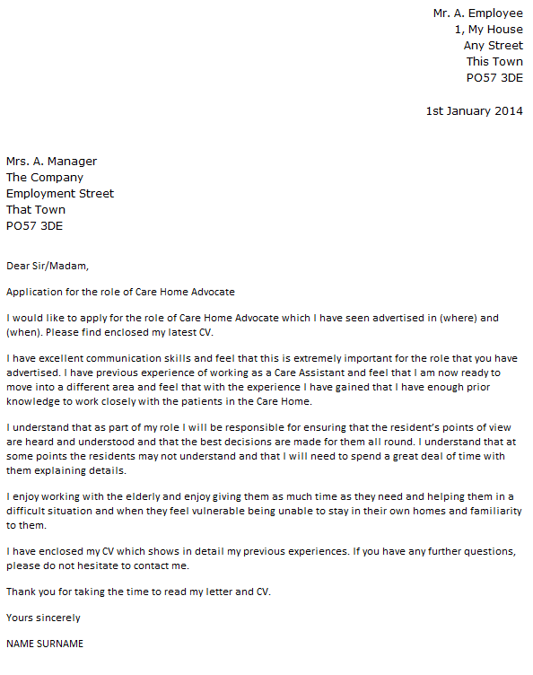 advocacy letter template - care home advocate cover letter example