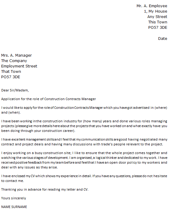 construction contracts manager cover letter - Construction Management Cover Letter Examples