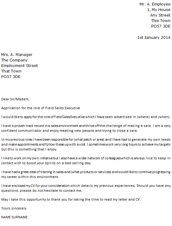 Field Sales Executive Cover Letter Example icoverorguk – Sales Cover Letters