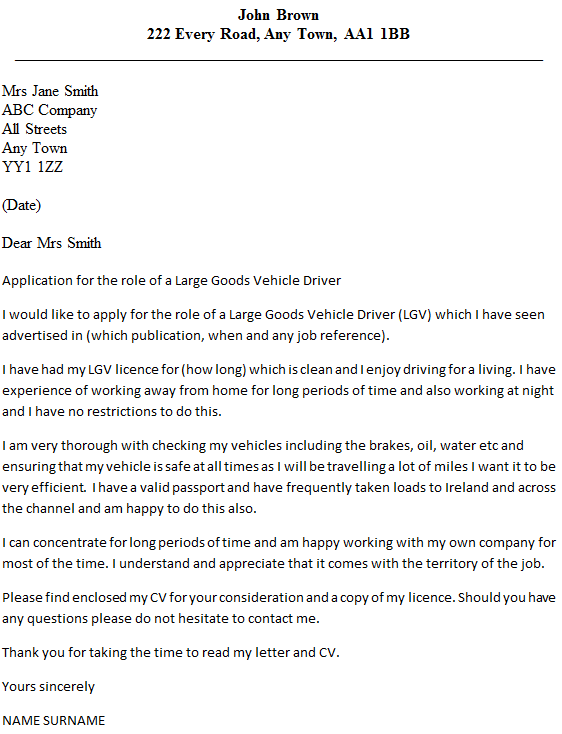 lgv driver cover letter example