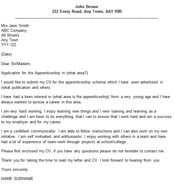 Cover Letter For Apprenticeship
