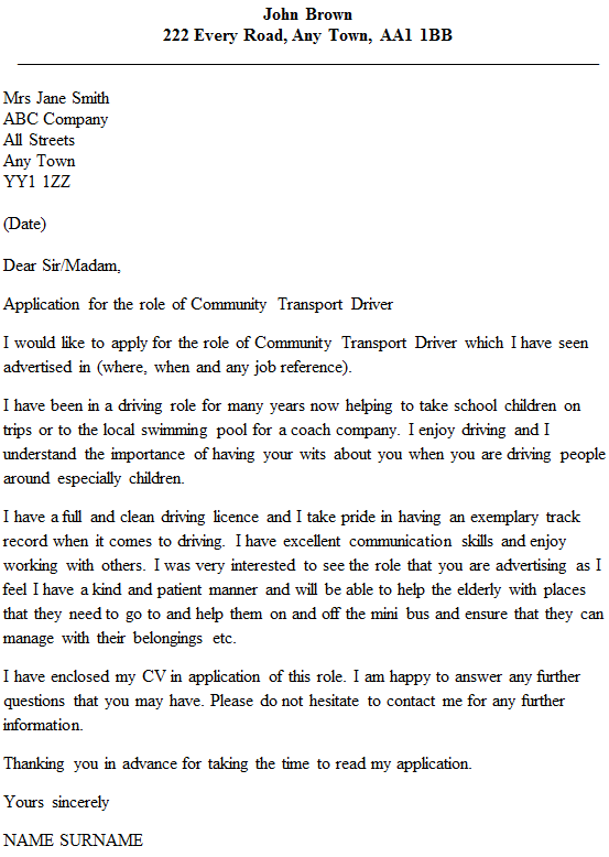 Community Transport Driver Cover Letter Example Icover