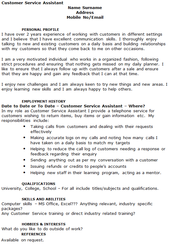 customer service assistant cv example