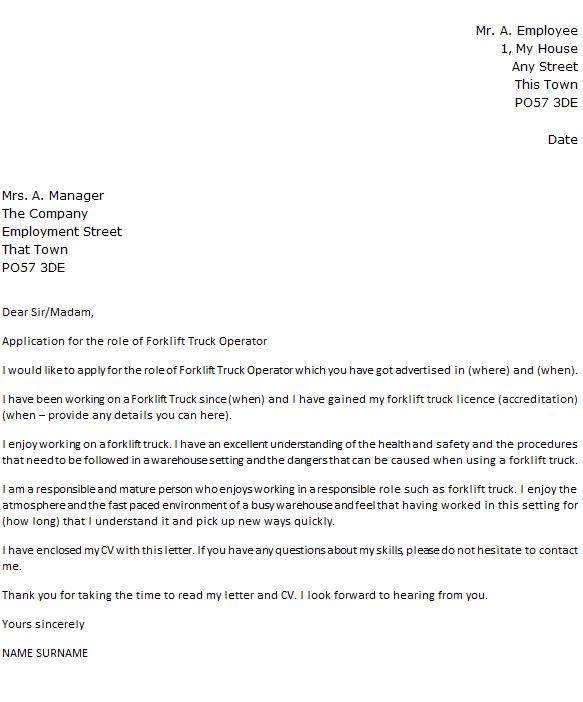 Forklift Truck Operator Cover Letter Example