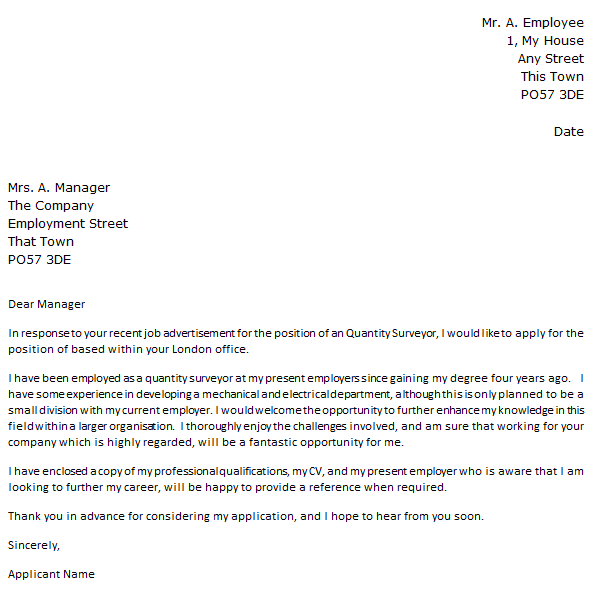 Quantity Surveyor Cover Letter Example Icover Org Uk