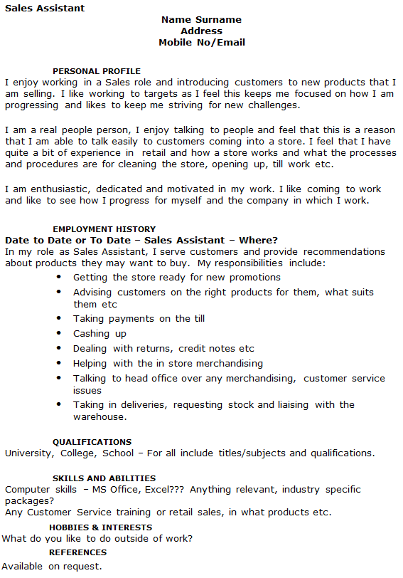 sales assistant cv example