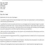 Zoologist Cover Letter Example