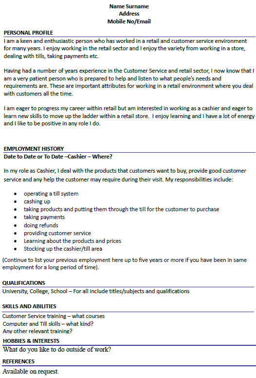 Cashier Cv Example Icover Org Uk