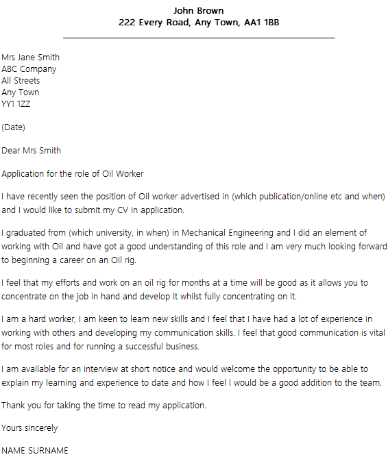 cover letter examples for oil rig job - Cover Letter To Company