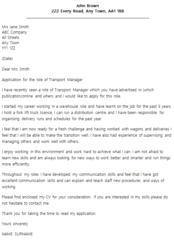 transport manager cover letter example