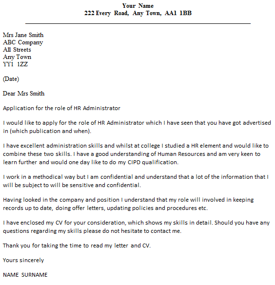 covering letter examples for administrator - cover letter for human resources technician