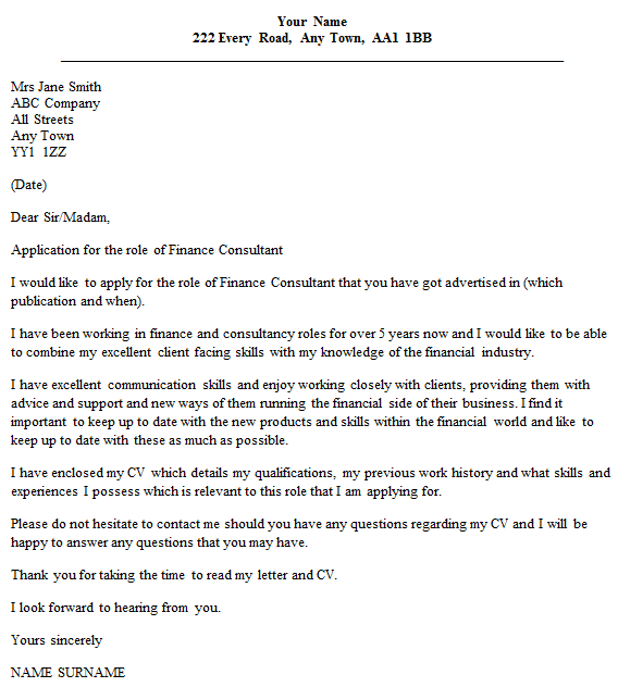 finance consultant cover letter example - Financial Cover Letter