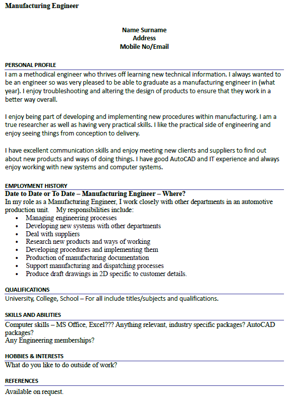 Manufacturing Engineer Cv Example Icover Org Uk