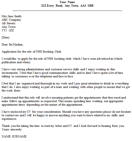 nhs booking clerk cover letter example