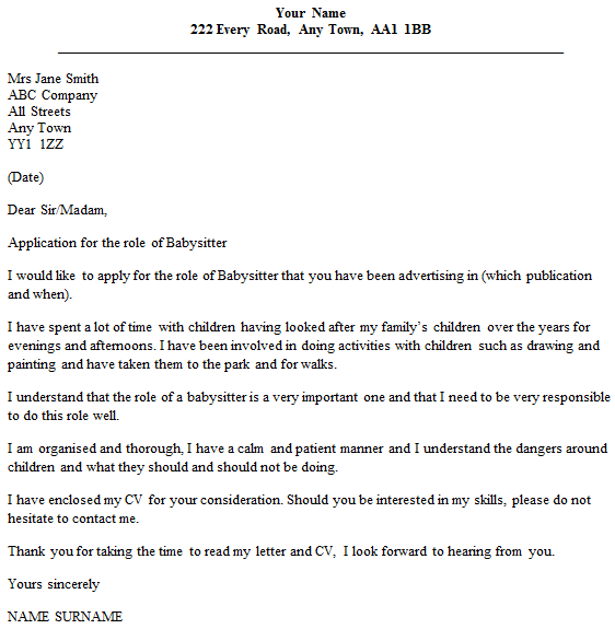babysitting cover letters