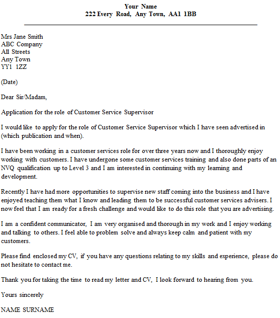 Customer Service Supervisor Cover Letter Example