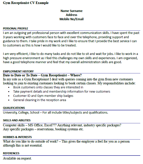 Gym receptionist cv example for Cover letter for a gym receptionist