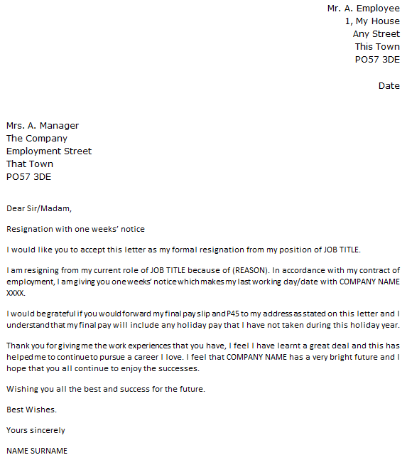 1 Week Notice Resignation Letter icoverorguk – Formal Resignation Letters
