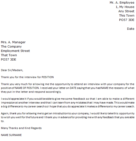 Follow Up Letter Example Rejected by Company