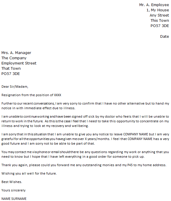 Immediate Resignation Due to Illness icoverorguk – Resignation Letters No Notice