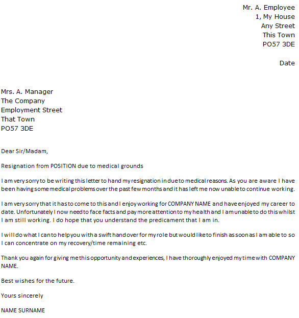Letter of Resignation Due to Medical Reasons icoverorguk – Resignation Letters Samples with Reasons