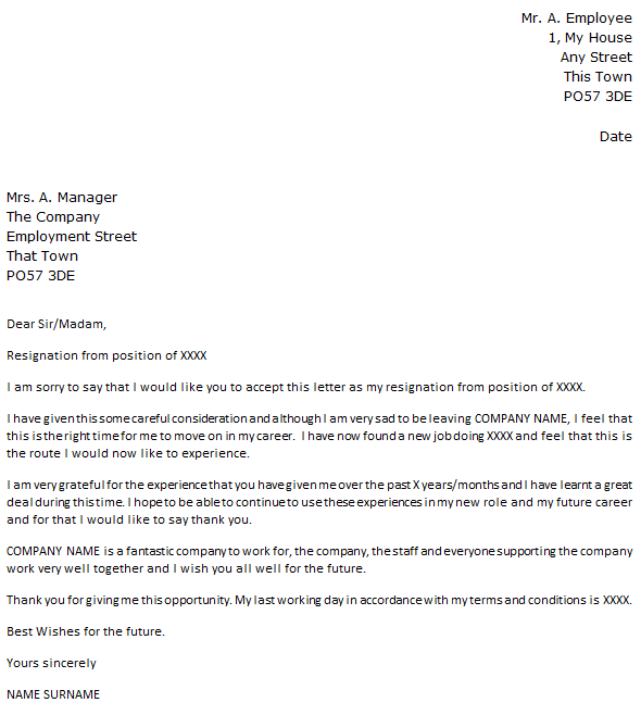 Resignation Letter Example With Regret - Icover.Org.Uk