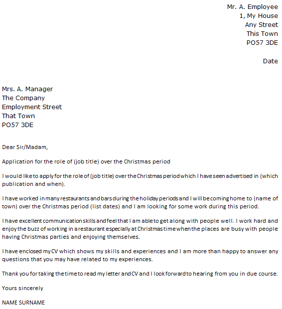 christmas casual cover letter