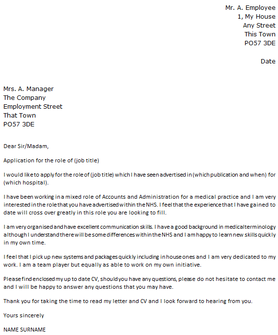 nhs job cover letter example