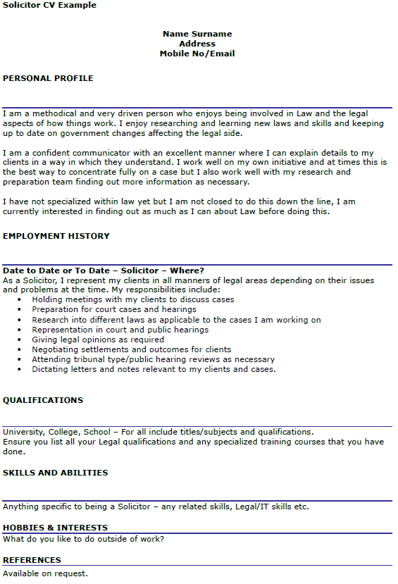 Solicitor CV Example Uk