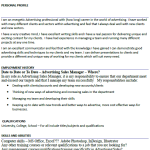 Advertising Sales Manager CV Example