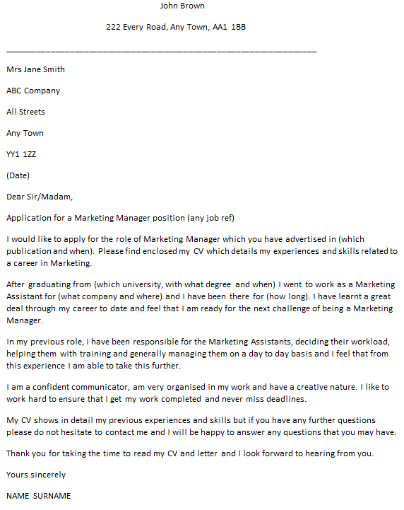 marketing manager cover letter example