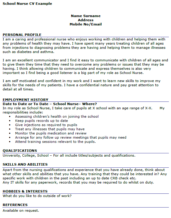 school nurse cv example