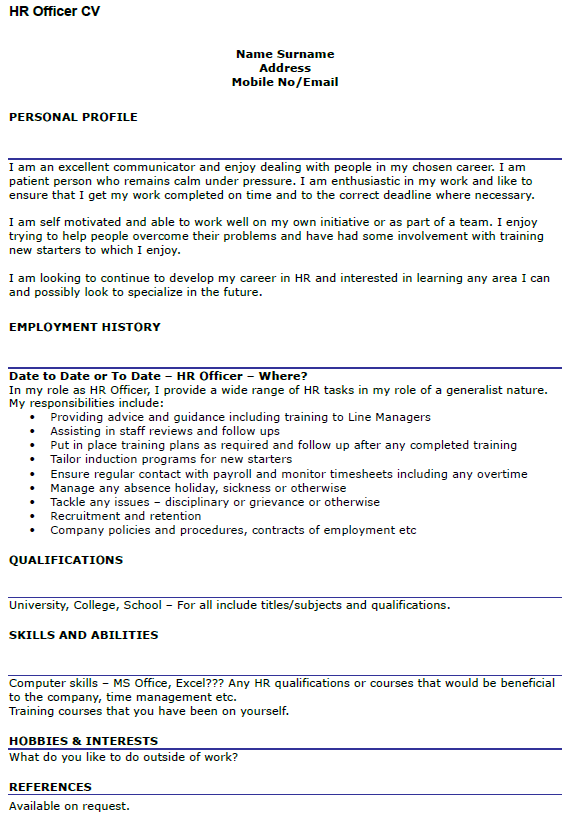 hr officer cv example