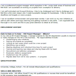 HR Project Manager CV Example