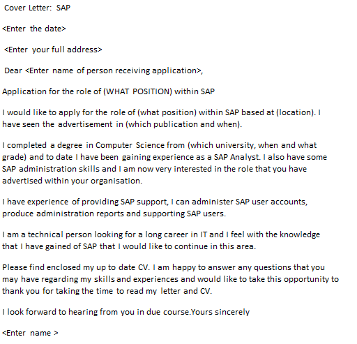 Sap cover letter example for Cover letter looking forward to hearing from you