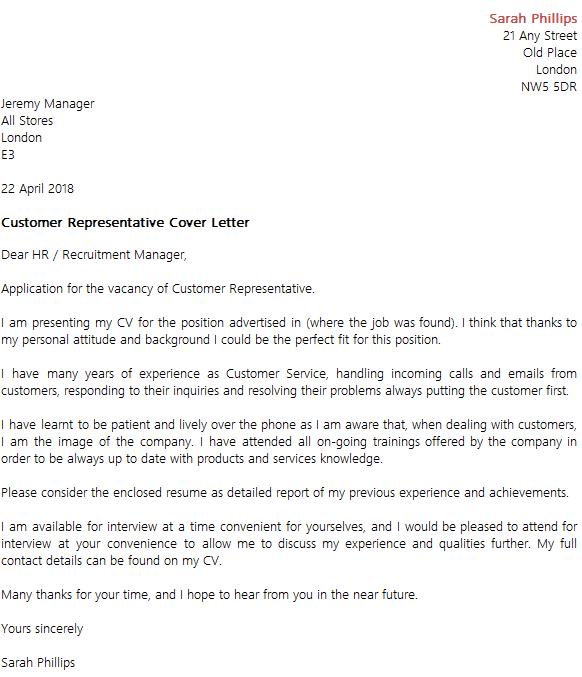 customer representative cover letter