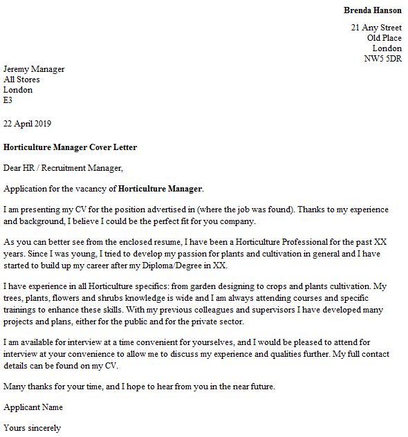 Horticulture Manager Cover Letter Example Icover Org Uk