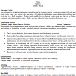Vehicle Technician CV Example