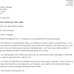 Gas Technician Cover Letter Example