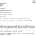 Quality Engineer Cover Letter Example