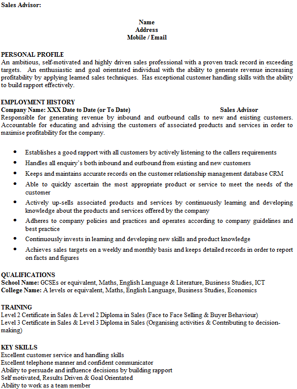 sales advisor cv example